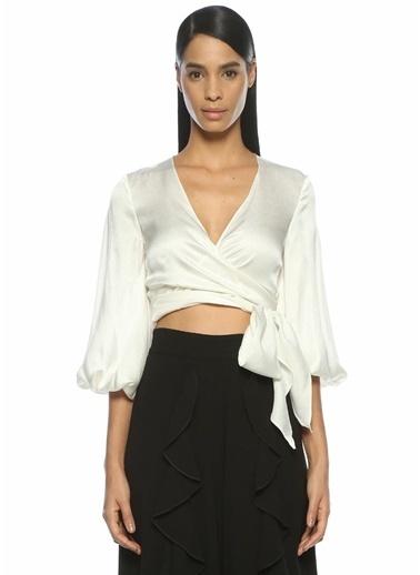 Alexis V Yaka Bağcıklı Cropped Bluz Beyaz